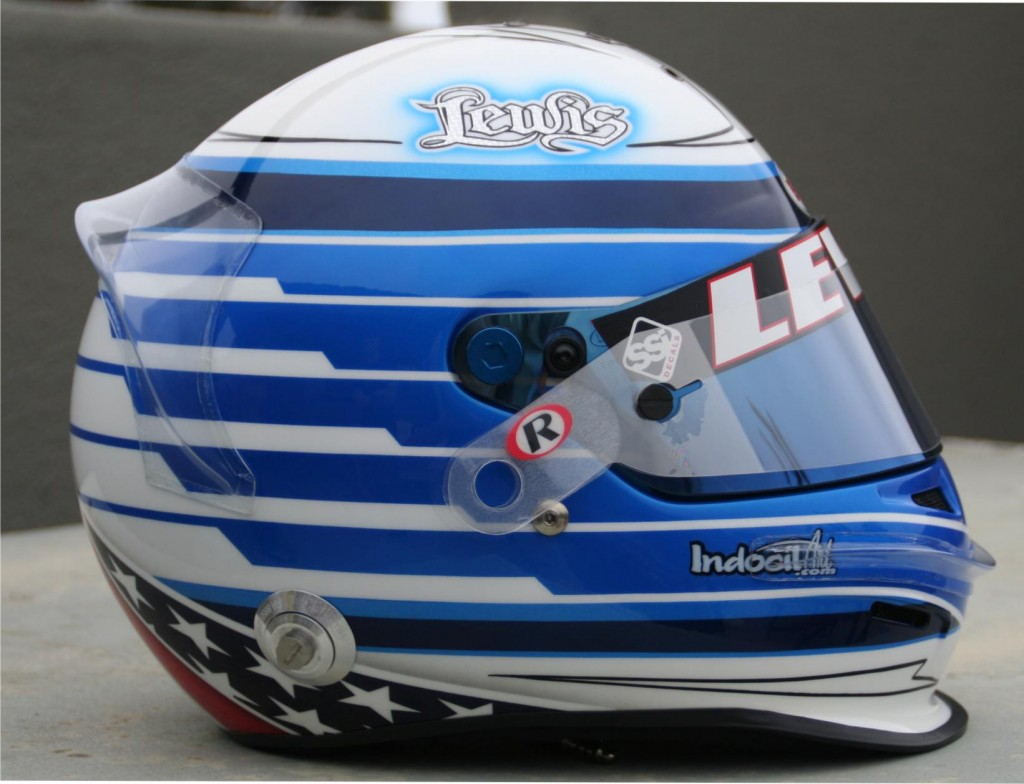 Sideveiw of Lewis's painted helmet