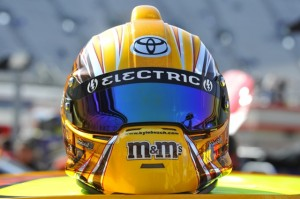 Kyle Busch's chrome M&M helmet